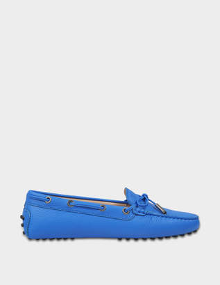 Tod's Heaven Moccasins with Bow in Bluette Textured Calfskin