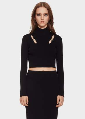 Versace Cut-out Knit Crop Top