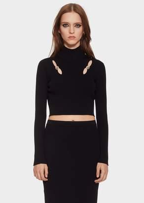 Versace Cut-out Knit Crop Top