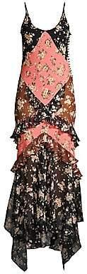 Michael Kors Women's Floral Ruffle Silk Slip Dress