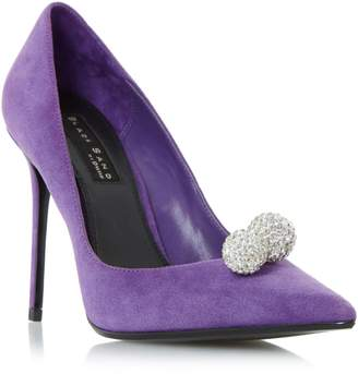 Dune LADIES BUCKINGHAMM - Black Sand Embellished Ball Detail Court Shoe