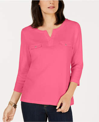 Karen Scott Cotton Split-Neck Knit Top