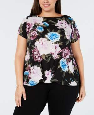 INC International Concepts I.n.c. Plus Size Floral-Print Twist-Hem Top, Created for Macy's