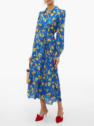 Saloni Vanessa Lemon Print Silk Midi Dress - Womens - Blue Multi