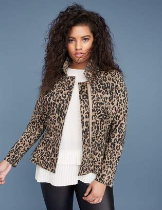 Lane Bryant Leopard Print Sateen Peplum Jacket
