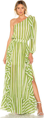 PatBO Striped One Shoulder Maxi Dress