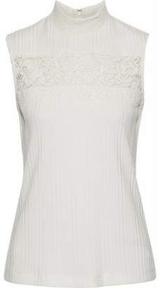 3.1 Phillip Lim Corded Lace-Paneled Silk-Trimmed Ribbed-Knit Top