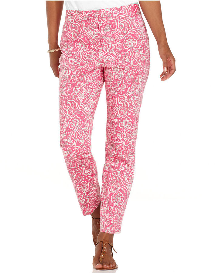 Charter Club Pants, Printed Straight-Leg Ankle