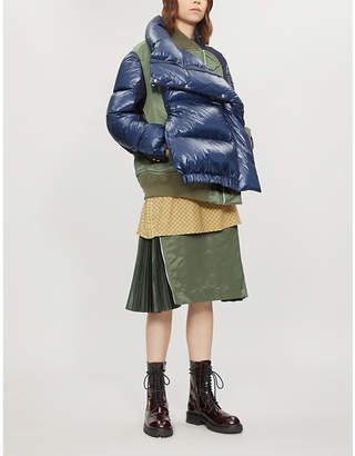 Sacai Hybrid shell-down and wool puffer coat