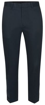 Navy Twill Skinny Cropped Trousers $70 thestylecure.com