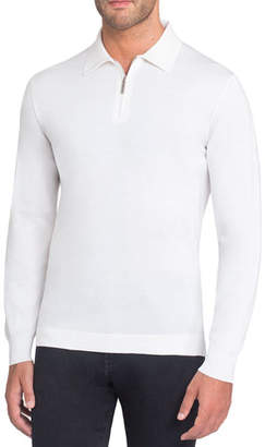 Stefano Ricci Half-Zip Polo Sweater with Crocodile Trim
