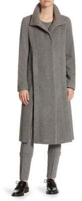 Akris Long Stand Collar Wool-Blend Coat