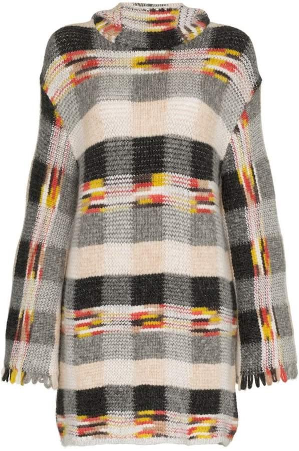 check hooded cashmere alpaca blend mini dress