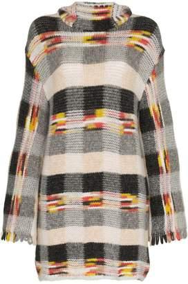 Missoni check hooded cashmere alpaca blend mini dress