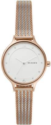 Skagen Anita Two-Tone Steel Ripple-Mesh Watch