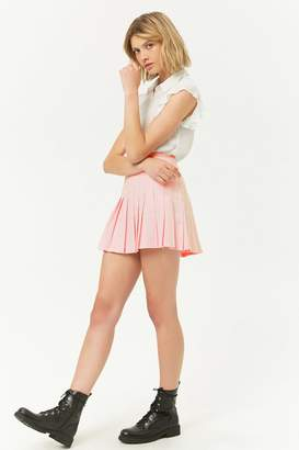 Forever 21 Grid Knife Pleat Mini Skirt