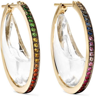 Noor Fares - Chandra Crescent 18-karat Gray Gold Multi-stone Hoop Earrings