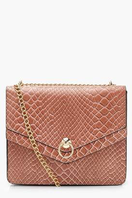 5b17017e35f boohoo Structured Faux Snake Ring Cross Body
