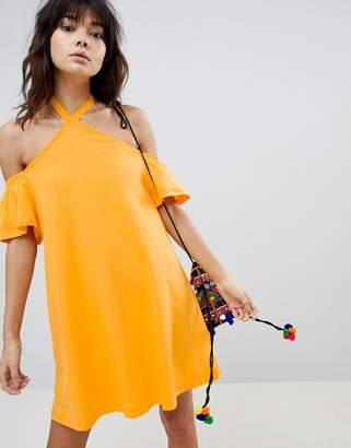 Asos Design Halter Neck Cold Shoulder Sundress