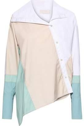 Peter Pilotto Asymmetric Color-block Cotton-poplin Shirt