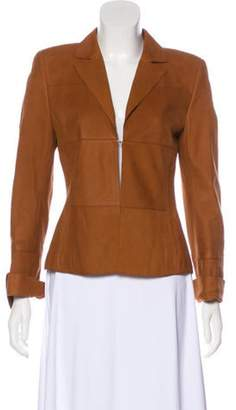 Akris Leather Pinstriped Blazer Brown Leather Pinstriped Blazer