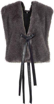 Helmut Lang Leather Ties Faux Fur Vest