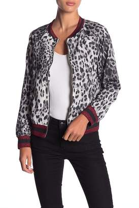 Honey Punch Leopard Print Stripe Bomber Jacket
