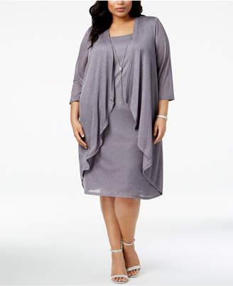 R & M Richards Plus Size Shimmer Draped Jacket Dress