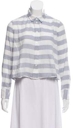 Band Of Outsiders Striped High-Low Button-Up