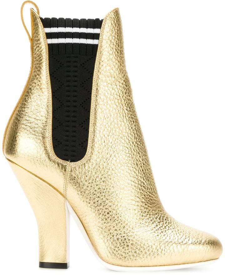 Fendi metallic ankle boots