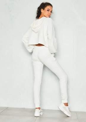 485b61ebbe Missy Empire Missyempire Frances White Cropped Hoody Loungewear Set