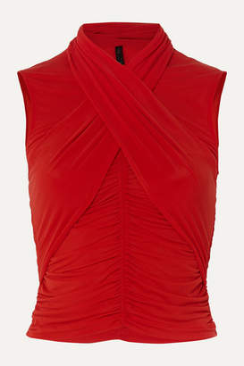 Unravel Project Cropped Ruched Wrap-effect Stretch-jersey Top - Red