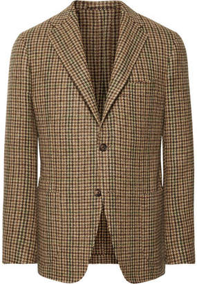 Drakes Drake's Brown Slim-Fit Houndstooth Wool-Tweed Blazer