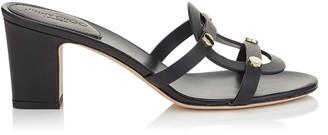 Jimmy Choo DAMARIS 65 Black Vachetta Leather Sandals with Gold Studs