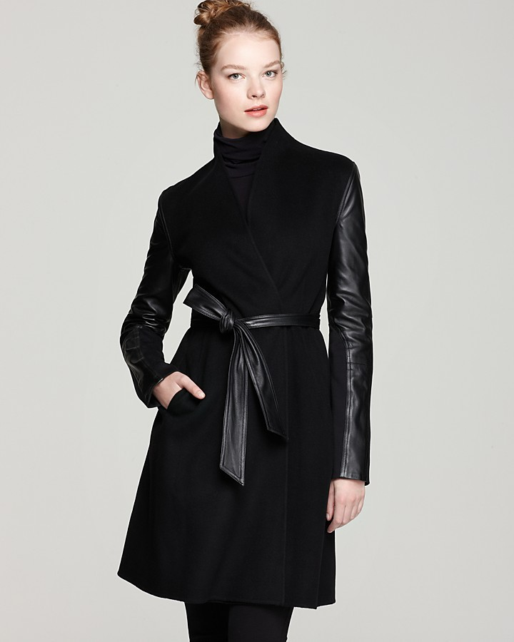 Dawn Levy Minka Double Faced Wool Jacket with Leather Sleeves