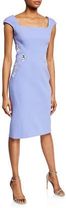 Zac Posen Square-Neck Bonded Crepe Dress