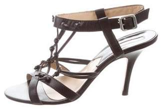 Michael Kors Leather Ankle-Strap Sandals Brown Leather Ankle-Strap Sandals