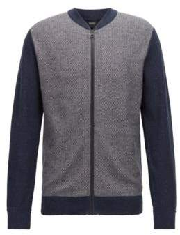 BOSS Hugo Knitted bomber jacket a micro-structure front panel S Open Blue