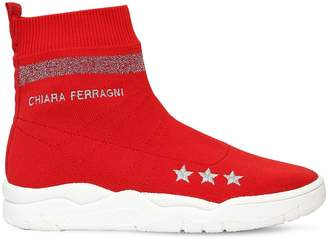 Chiara Ferragni 30mm Logo Stretch Knit Sock Sneakers