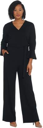 Halston H By H by Petite Knit Crepe Full Length Wide Leg Jumpsuit