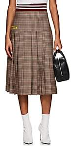Marianna Senchina Women's Plaid Wool Flannel Pleated Midi-Skirt-Brown