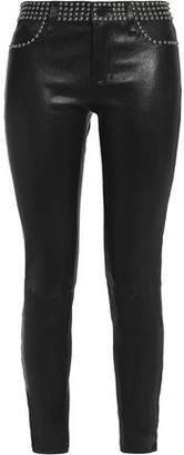 L'Agence Studded Leather Skinny Pants