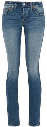 RE/DONE Faded Low-Rise Skinny Jeans