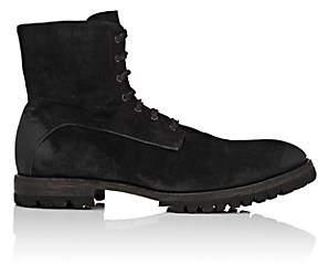 Elia Maurizi Men's Lug-Sole Oiled Suede Boots - Black