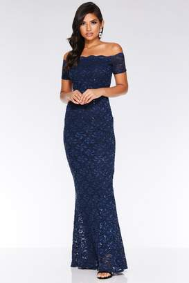Quiz Navy Sequin Bardot Maxi Dress