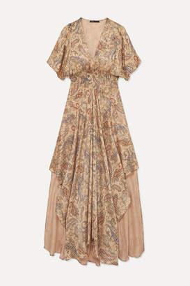 Maje Rachel Asymmetric Printed Devoré-satin Dress - Beige