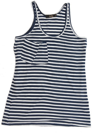 Kain Pocket Tank in Navy/White Stripe