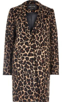River IslandRiver Island Womens Brown leopard print overcoat