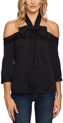 CeCe Cold Shoulder Halter Blouse