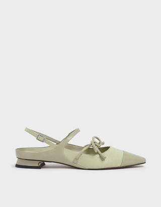 Charles & Keith Wrinkled Patent Mary Jane Bow Flats